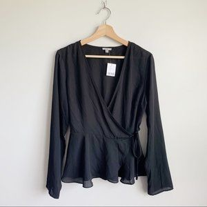 UO Urban Outfitters Sheer Black Wrap Blouse L